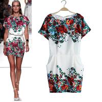2014 Summer ladies fashion runway women dress vintage floral print slim chiffon dress European fashion Dresses free shipping