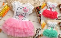 new 2014 hot sale summer children's clothing girls dress tutu dress lace princess dress hello kitty dress 3 colors veil 2-5T