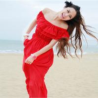 2014 Summer Bohemia Super Beautiful Ruffles Chiffon Beach Dress Women High Waist Floor-length Maxi Dress Four Wear Ways