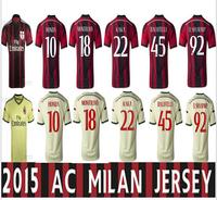 Top quality soccer jersey milan ac el shaarawy jersey 2015 shirt football kaka ac milan 14 15 uniform camisetas de