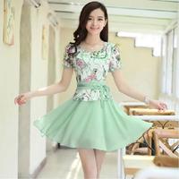 Korean Fashion Elegant Dress New 2014 Summer Spring Plus Size Print Lace Tops Short Sleeve Chiffon Women's Casual Sexy Dress