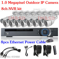 1Megapixel Outdoor IP Camera 8ch NVR kit network Security System Full realtime NVR+IP camera hd system HD video IP kit