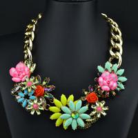 2014 fashion luxury corlorful flower gold chain  vintage za necklaces & pendants beads gem choker collar shourouk necklace W1