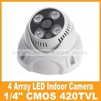 "Free Shipping!! 1/4"" CMOS  420TVL 4 Array LED IR Color Night Vision Security Dome Video Camera, CCTV Cam System"
