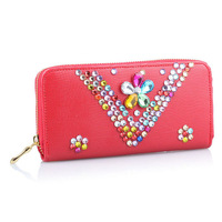 Hot New 2014 Diamante Rhinestone Famous Brand Designer Women Wallets Desigual Carteira Feminina Clutch WZ-1283