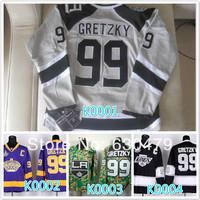 Cheap stitched 2014 NHL LA/Los Angeles Kings 99 Wayne Gretzky Purple/black/ camo ice hockey jersey/shirt/sportswear