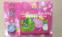 New Free shipping 10pcs/lot peppa pig children Cartoon cute kids watchWrist watch with Coin wallets