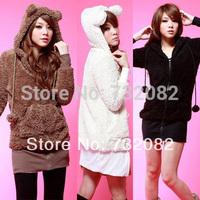 Cute Women kawaii Go 2 Sweet Teddy Bear Ear Fleece Hoodie Top Jacket Coat