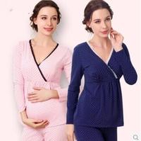 women Sleep lady Lounge maternity sleep plus size XXL cotton clothes for pregnant women cute bow pregnancy dress