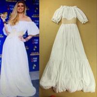 2014 Fashion Celebrity Style Puff Seeve High Waist Luxury White Evening Long Dress Slash Neck Vintage Floral Formal Dresses