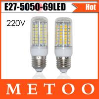 LED chandelier E27 15W 5050 SMD 69 leds lamps 220V LED corn bulb Lighting, High quality Chip led lantern Wholesale 10pcs/lot