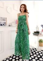 womens leggings Vintage fashion 2014 chiffon print ultra long spaghetti strap jumpsuit clothing set D10