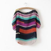 Big size Design Multi Color Striped Chiffon blusas femininas Women Casual blouse 2014 Spring Summer Tops Blouse Drop Shipping