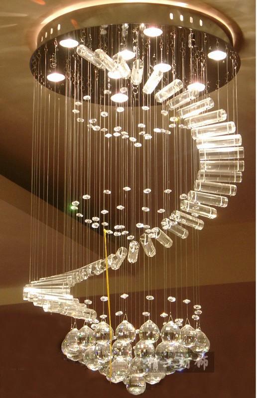 frete grátis novo design espiral dia500*h1000mm hotel lustres modernos, escada de casa cristal lustre de teto luz(China (Mainland))
