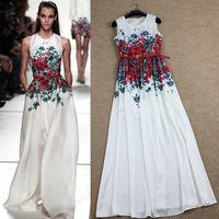Free Shipping ! 2014 Summer Fashion Runway Elegant Slim Printed Flowers White Floor-length High Quality Dress