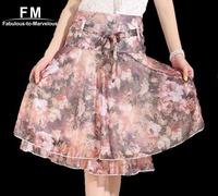 Female Floral Print Chiffon Skater Skirt Womens New 2014 Saias Femininas High Waist Knee Length Skirts Plus Size SS14K003