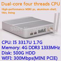 4G/500G HDD WIFI Intel Core I5 3317U dual core four threads desktop motherboard mini living room hosts aluminum chassis HTPC