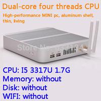 Barebones Intel Core I5 3317U dual core four threads desktop motherboard mini living room hosts a small aluminum chassis  HTPC