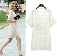 new 2014 women Blouses summer women's cutout lace top white o-neck lace chiffon shirt short-sleeve basic shirt