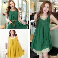 Summer the new loose big code Korean women pregnant women T-shirt falbala vest dress
