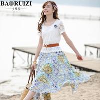 Free shipping Baolang 2014 summer serena rees beach dress bohemia dress full lace chiffon one-piece dress female 020