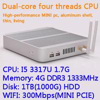 4G/1TB(1000G) HDD WIFI Intel Core I5 3317U dual core four threads desktop motherboard mini living room hosts aluminum chassis