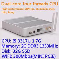 2G/32G SSD WIFI Intel Core I5 3317U dual core four threads desktop motherboard mini living room hosts aluminum chassis HTPC