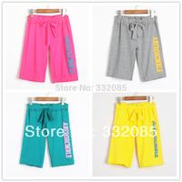 Free Shipping 2014 Women's Summer Thin Sport Shorts Women 100% Cotton Knee Length Sports Shorts Slacks Female Household Pants