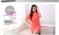 2014 new women ladies short-sleeved chiffon dress Slim thin package hip fashion OL dress f520-1034