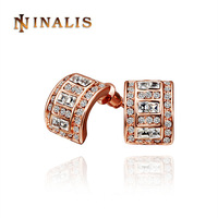 Free Shipping(Min Order is $10) 2014 New Austrian Zircon Crystal Stud Earring, Promotion 18K Rose Gold Plated Crystal Earring