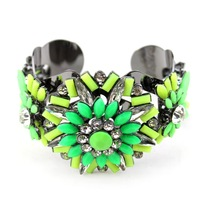 hot sale 2014 new design shourouk style resin fluorescence color crystal flower cuff bracelet bangle for women