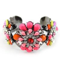 hot sale 2014 new design fashion shourouk style jewelry lovely flower crystal cuff bracelet bangle for women