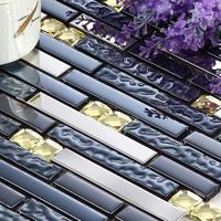 Home mosaic tile silver stainless steel striped blue glass diamond kitchen backsplash tiles bath entrance wall decor mirror tile