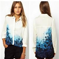 women fashion Blue Floral Pattern Turn down Collar Chiffon summer Blouse Ladies fashion blouse