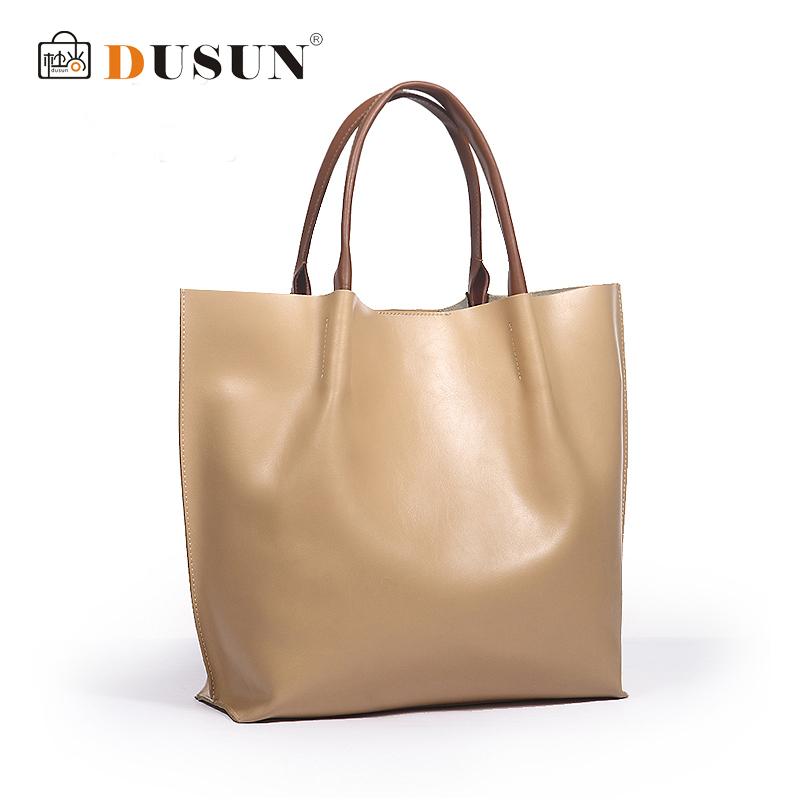 AliExpress.com Product - DUSUN High quality women genuine leather handbag beige women bag brand shoulder bags natural leather bolsa de couro large totes