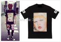 New 2014 men shirt woman&man's t shirt HOOD BY AIR HBA baby face t-shirt men shirts cotton brand tshirt hip-hop tops