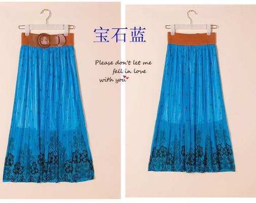 Summer 2015 Women fashion Bohemian long silk skirts Free shipping(China (Mainland))