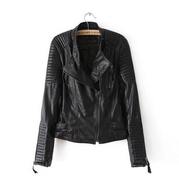 2014 Autumn Winter Женщины Brand Faux Soft Leather Jackets Pu Черный Blazer Молнияs ...