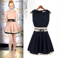 2014 Clothed Female Casual Office Work Designer Summer Fall Party Fashion Women Sleeveless Ruffle Slimming Belt Chiffon Dress