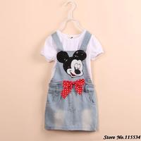 Mickey super cute handmade denim blue sequined strap dress + white short-sleeved Free shipping C0120