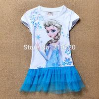 Frozen Anna & Elsa children Girls' Frozen Dress summer dress girl's tutu girl  princess dress girl's lovable dress free shipping
