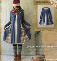Japanese Mori Girl lolits style elegant dress harajuku women brandy melville patchwork plaid one-piece dress vestido oncinha