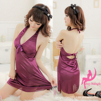 Purple nightgown women's at home sexy nightgown plolicy racerback evening dress temptation backless sexy pajamas