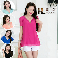 2014 Summer New Fashion Blouses Quality Large Size Cool Slim V-Neck Short Sleeve Solid Color Chiffon Shirt F3331