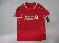 NEW Season 14/15!!! LivpolFc Home Red Soccer Shirt,Embroidery LogoThailand Quality LivpolFc Red Jersey+Free Shipping