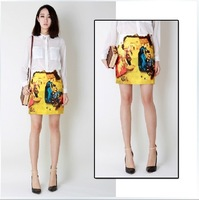 S, M, L 2014 vintage oil painting print high waist step skirt bust skirt short skirt 9002