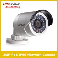 Free shipping original Hikvision 3MP IR Bullet Network Camera CCTV camera IP camera nimi bullet Camera Support PoE  DS-2CD2032-I