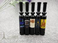 2014New!Fashion 5pcs/lot Thin Black Wine Pipe  Mini weed Metal tobacco pipes Smoking Pipe  Free shipping 5designs