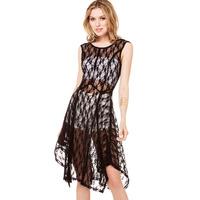 XS - XXL Sleeveless O-neck Lace Dress Women See-through Asymmetrical Sexy Club Dress Black Beige