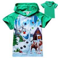 2014 hot sell Frozen Princess Boys Fashion t-shirt Print Hoodies Top Olaf Short Sleeve Children T-shirts Free Shipping DA239